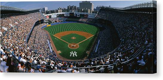 Yankee Stadium Canvas Print - High Angle View Of A Baseball Stadium by Panoramic Images