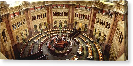 University Of Washington Canvas Print - High Angle View Of A Library Reading by Panoramic Images