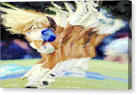 Dallas Cowboys Cheerleaders Canvas Print - High Kicks by Carrie OBrien Sibley