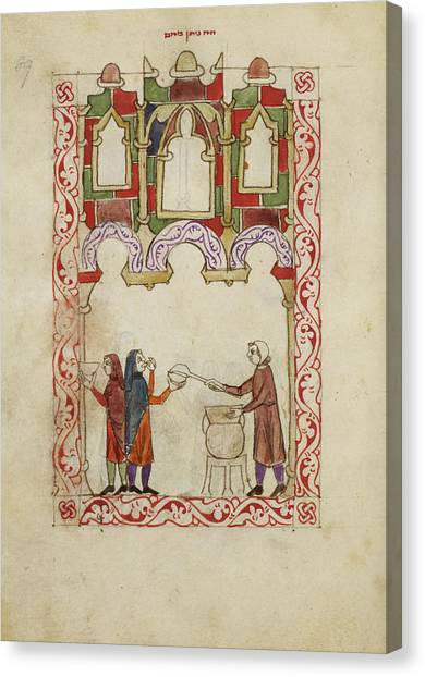 Passover Canvas Print - Hispano-moresque Haggadah by British Library