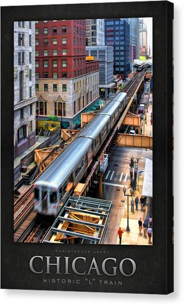 Historic Chicago El Train Poster Canvas Print