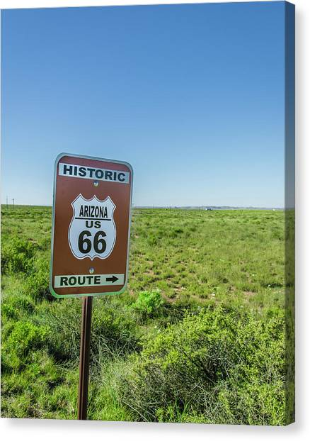 Petrified Forest Canvas Print - Historic Old Route 66 Passed by Jerry Ginsberg