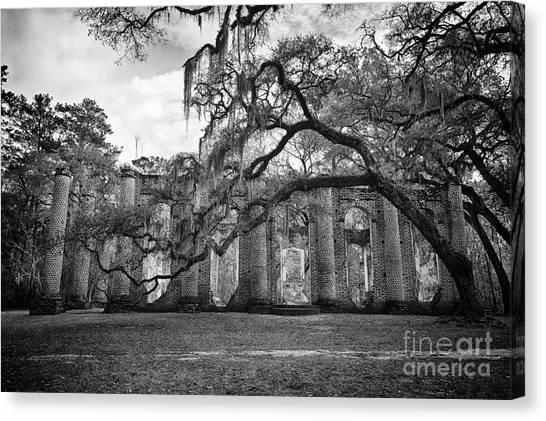 Historic Sheldon Church 4 Bw Canvas Print