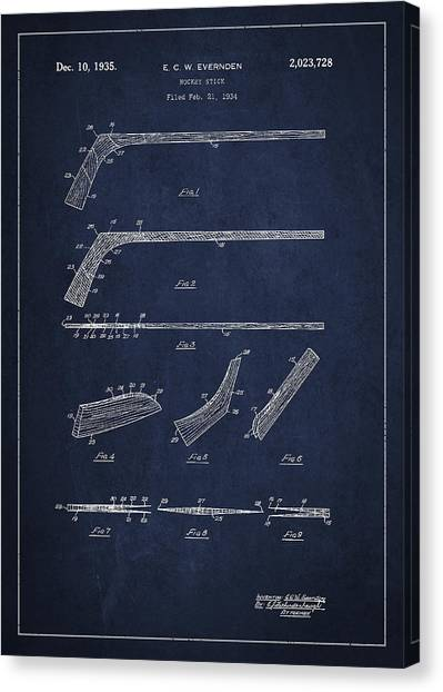 Hockey Games Canvas Print - Hockey Stick Patent Drawing From 1934 by Aged Pixel