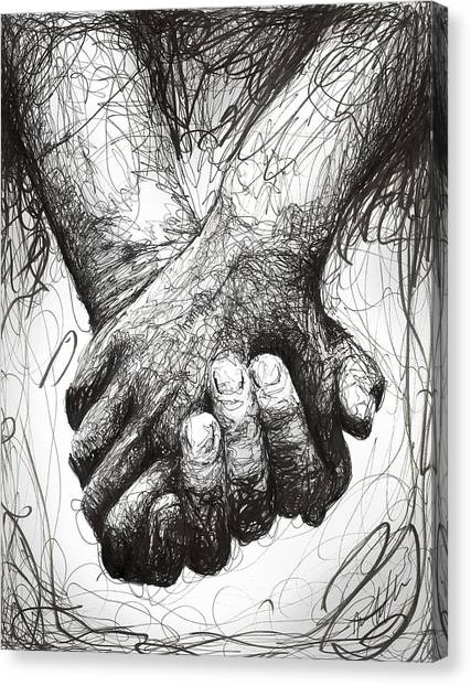 Love Canvas Print - Holding Hands by Michael Volpicelli