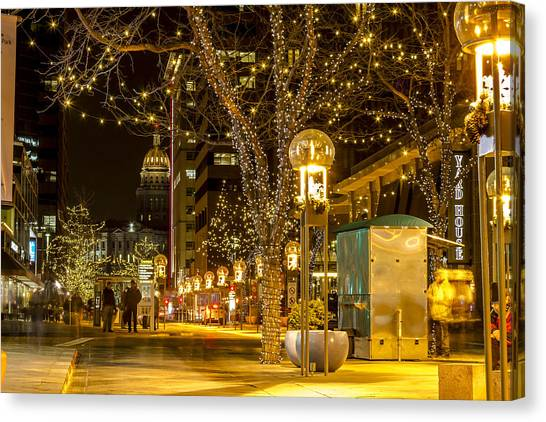 Holiday Lights In Denver Colorado Canvas Print