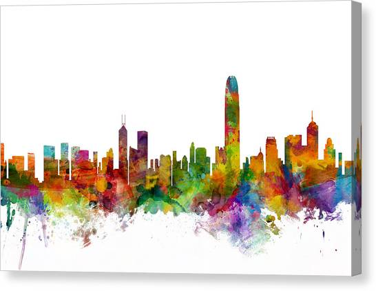 Hong Kong Canvas Print - Hong Kong Skyline by Michael Tompsett