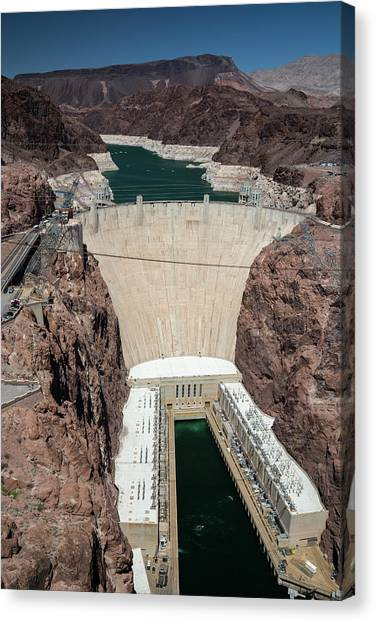 Nra Canvas Print - Hoover Dam And Lake Mead During Drought by Jim West/science Photo Library
