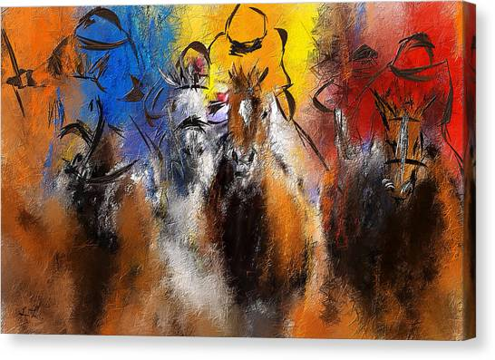 Kentucky Derby Canvas Print - Horse Racing Abstract  by Lourry Legarde