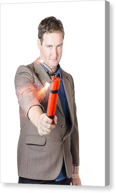 Caution Canvas Print - Hostile Male Office Worker Holding Flaming Bomb by Jorgo Photography - Wall Art Gallery