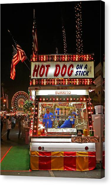 Hot Dogs Canvas Print - Hot Dog On A Stick by Peter Tellone