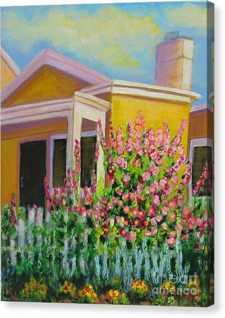 Hot Hollyhocks Canvas Print