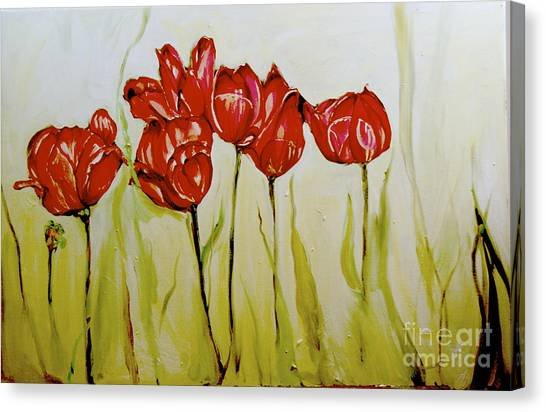 Hot Tulips Canvas Print by Shelley Laffal