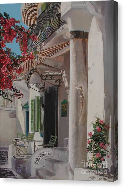Hotel Zorziz Mykonos Greece Canvas Print by Debra Chmelina