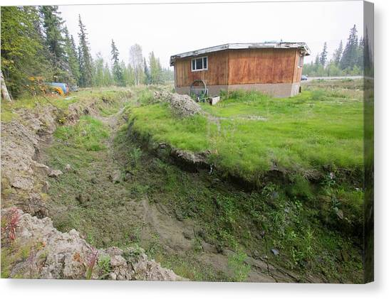 Global Warming Canvas Print - House In Fairbanks Alaska Collapsing by Ashley Cooper