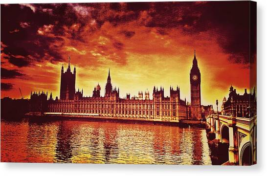 Drake Canvas Print - Houses Of Parliament Looking Over The River Thames by Chris Drake