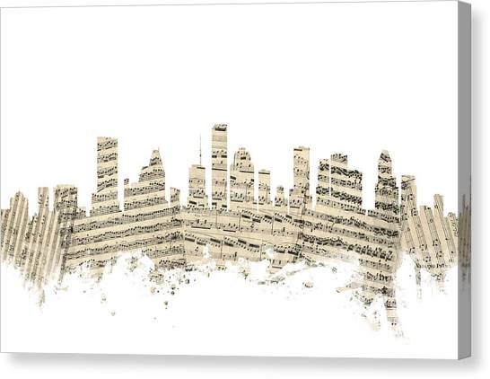 Houston Skyline Canvas Print - Houston Texas Skyline Sheet Music Cityscape by Michael Tompsett