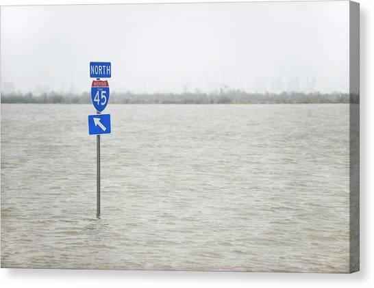 Interstates Canvas Print - Hurricane Ike Flood Waters by Jim Reed Photography/science Photo Library