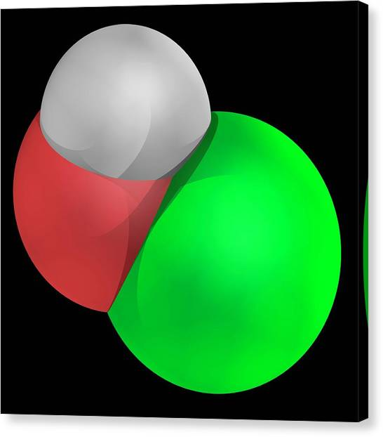 Hypochlorous Acid Molecule Canvas Print by Laguna Design/science Photo Library