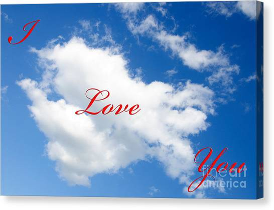 1 I Love You Heart Cloud Canvas Print