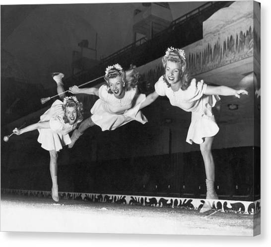 Follies Canvas Print - Ice Skater Triple Exposure by Underwood Archives