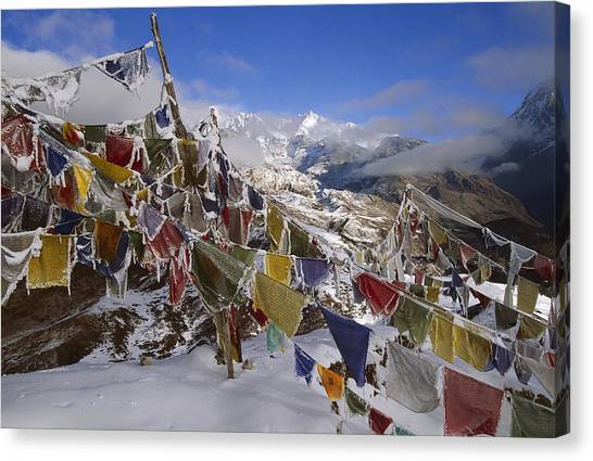 Kangchenjunga Canvas Print - Icy Prayer Flags Himalaya by Colin Monteath