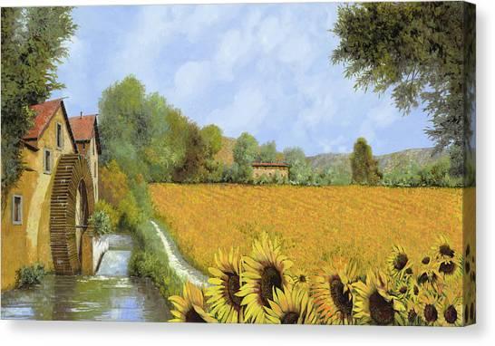 Sunflowers Canvas Print - Il Mulino E I Girasoli by Guido Borelli