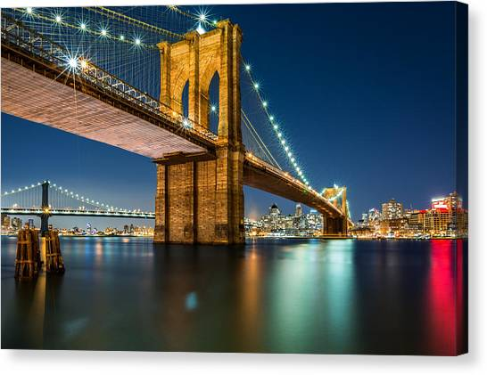 Illuminated Brooklyn Bridge By Night Canvas Print