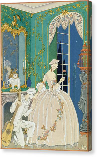 Confession Canvas Print - Illustration For 'fetes Galantes' by Georges Barbier