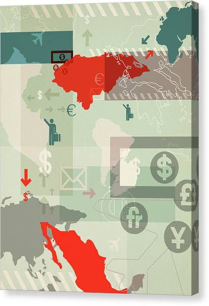 Yen Canvas Print - Illustration Of Global Business by Fanatic Studio / Science Photo Library