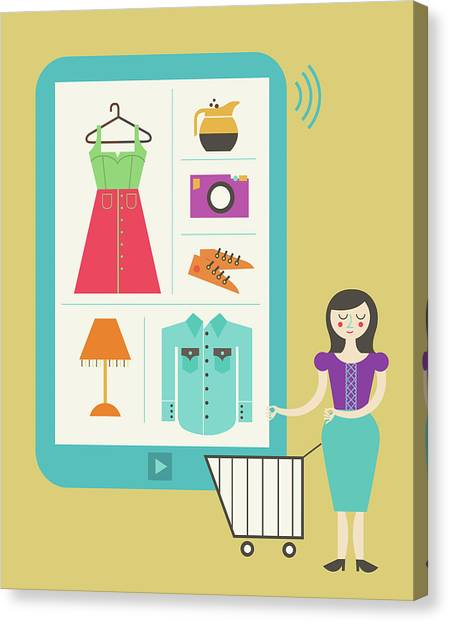 Illustration Of Online Shopping Canvas Print by Fanatic Studio / Science Photo Library