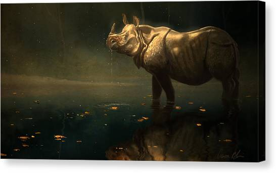 Rhinos Canvas Print - Indian Rhino by Aaron Blaise