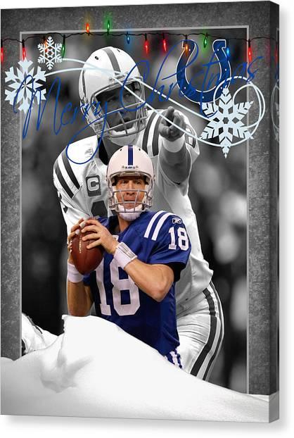 Peyton Manning Canvas Print - Indianapolis Colts Christmas Card by Joe Hamilton