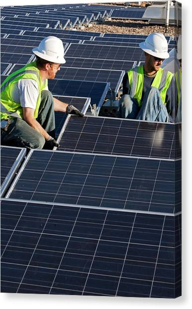 Installation Art Canvas Print - Installing Solar Panels by Jim West