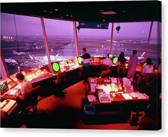 Air Traffic Control Canvas Print - Interior Of Air Traffic Control Tower by Peter Menzel/science Photo Library