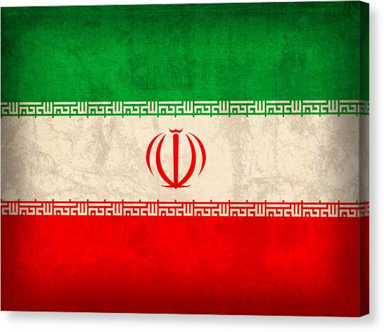 Iranian Canvas Print - Iran Flag Vintage Distressed Finish by Design Turnpike