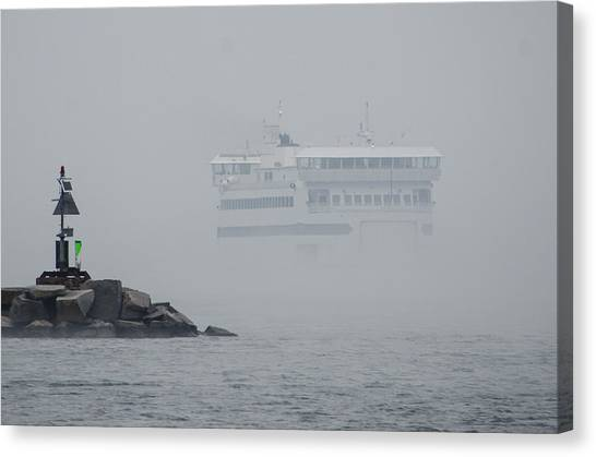 Island Home In Fog Canvas Print