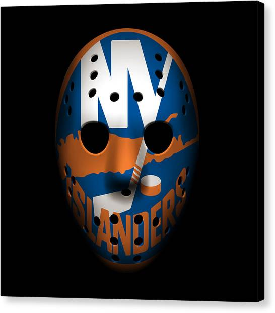 New York Islanders Canvas Print - Islanders Goalie Mask by Joe Hamilton