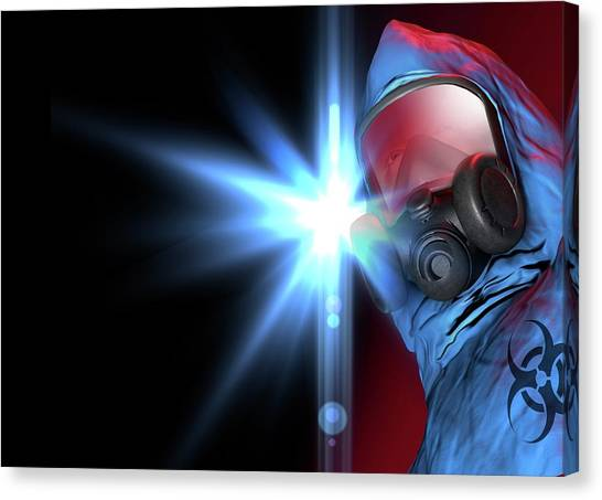 Biohazard Canvas Print - Isolation Suit by Victor Habbick Visions