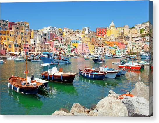 Italy, Procida Island, Corricella Canvas Print by Frank Chmura