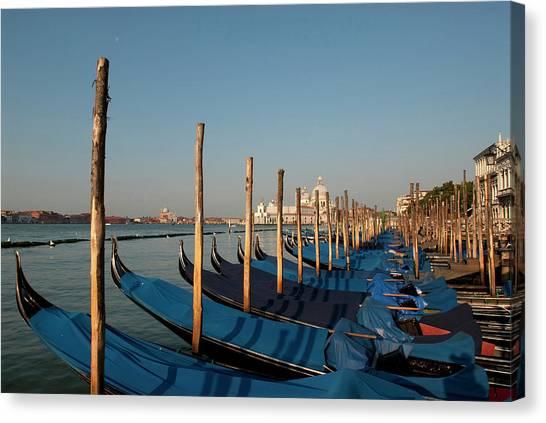 Gondola Ride Canvas Print - Italy, Venice Gondolas Along The Grand by David Noyes