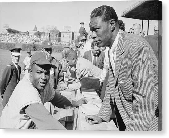 Jackie Robinson And Nat King Cole At Wrigley Field Canvas Print by The Harrington Collection