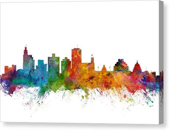 Watercolour Canvas Print - Jackson Mississippi Skyline by Michael Tompsett