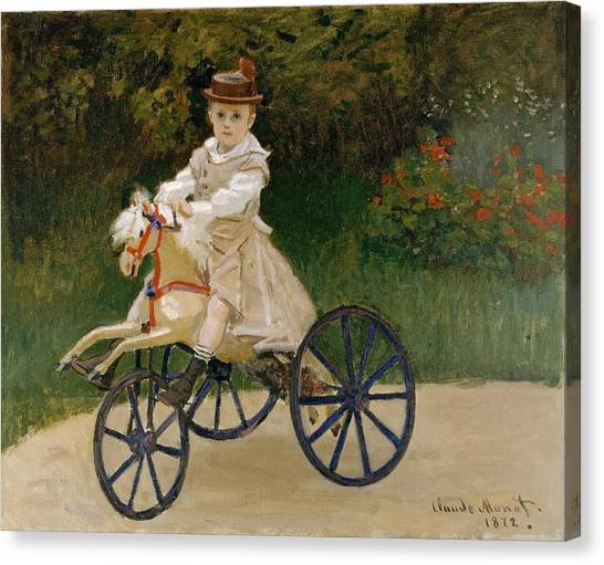 The Metropolitan Museum Of Art Canvas Print - Jean Monet On His Hobby Horse by Claude Monet