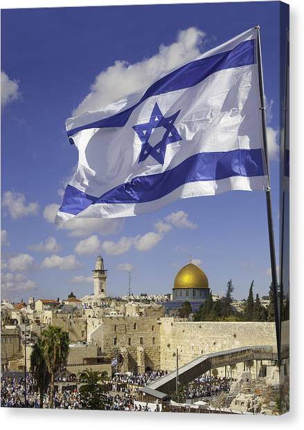 Jerusalem Old City Western Wall With Israeli Flag Canvas Print by Stellalevi