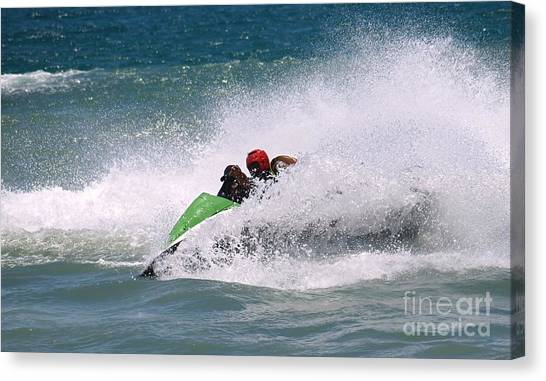 Jet Skis Canvas Print - Jet Ski Riders In The Sea by Yali Shi