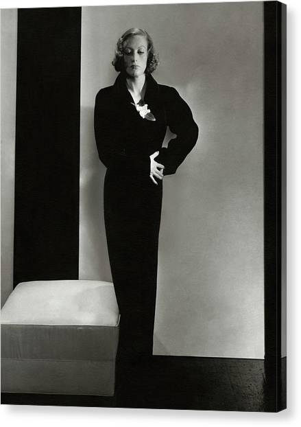 Joan Crawford Wearing A Schiaparelli Dress Canvas Print by Edward Steichen