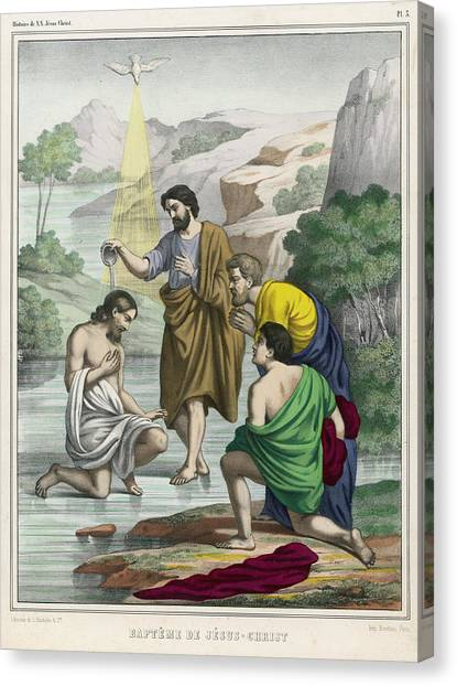 River Jordan Canvas Print - John Baptises Jesus While The  Holy by Mary Evans Picture Library