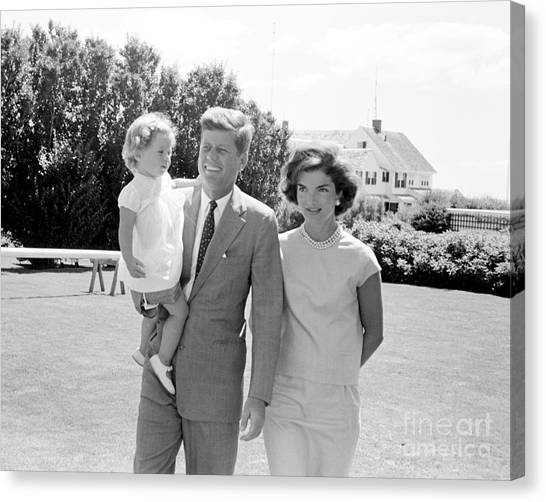 First Ladies Canvas Print - John F. Kennedy With Jacqueline And Caroline 1959 by The Harrington Collection