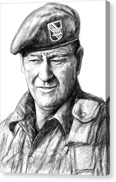 Kurt Cobain Canvas Print - John Wayne Art Drawing Sketch Portrait by Kim Wang